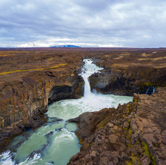 Aerial view of the Aldeyjarfoss waterfalls in northern Iceland