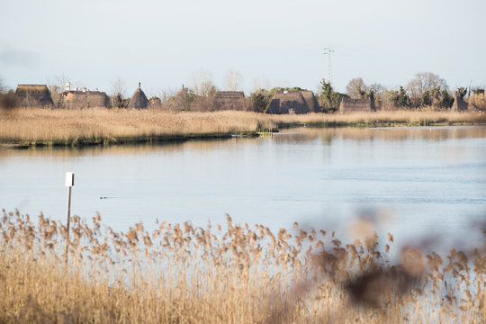 caorle, italy, 02/16/2020 , View of Caorle's lagoon, a famous touristic spot in the adriatic sea coast line.