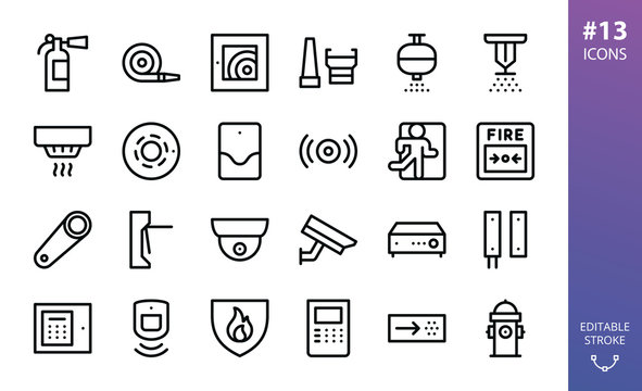 Security and Fire Alarm icons set. Set of smoke detector, fire sensor, sprinkler, powder extinguishing module, fire alarm control panel, firehose, fire extinguisher, cctv camera,  vector outline icon