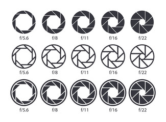 Set of aperture icons. Camera value lens diaphragm and shutter icons.