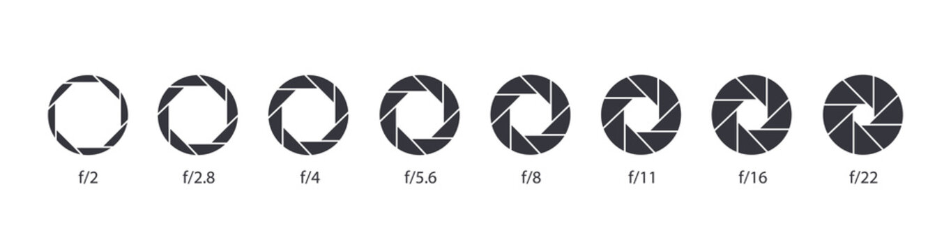 Aperture icon set. Camera lens diaphragm. Camera shutter icons.