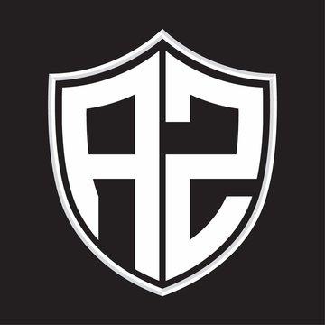 AZ Logo monogram with shield shape isolated on outline design template