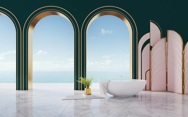 Mock up interior in art deco style.Bathtub with gold vase and towel on sea view background.3d rendering