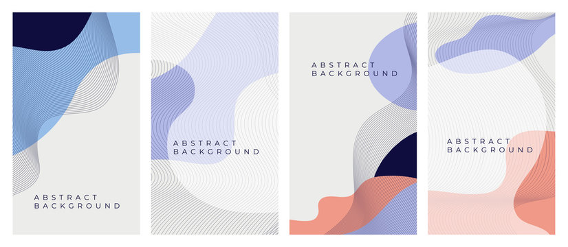 Cover design with geometric shapes, fluid splash. Set of trendy dynamic backgrounds with flow liquid elements, holography for banner, social media stories. Vector illustrations for poster, blank, card