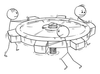 Vector cartoon stick figure drawing conceptual illustration of group or business team of men or businessmen pushing big cog or geared wheel together. Concept of teamwork.