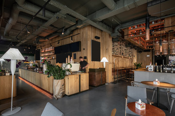 Foto op Canvas koffiebar Interior of modern cafe in loft style