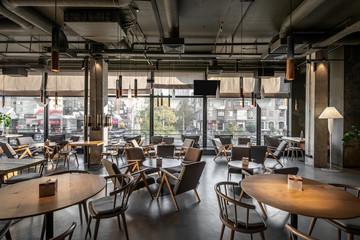 Photo sur Aluminium Restaurant Interior of modern cafe in loft style