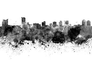 Wall Mural - Windsor skyline in black watercolor