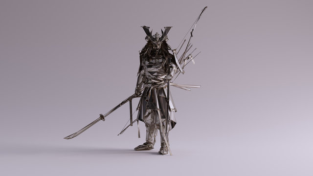 Silver Samurai made out of Polygon Triangles with a Lattice Frame 3d illustration 3d render