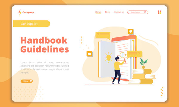 Handbook guidelines concept on landing page template