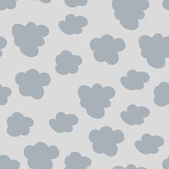 Seamless pattern with cute cartoon clouds, raster version. Good for textile, fabric, wallpaper, nursery decoration and more