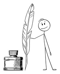 Vector cartoon stick figure drawing conceptual illustration of man, writer or poet with quill pen and ink bottle.