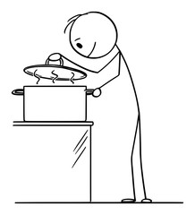 Vector cartoon stick figure drawing conceptual illustration of hungry curious man or cook looking on hot food inside of cooking pot.