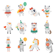 Happy birthday nice animal collection. Vector illustration. Lovely child set of funny charectrers.
