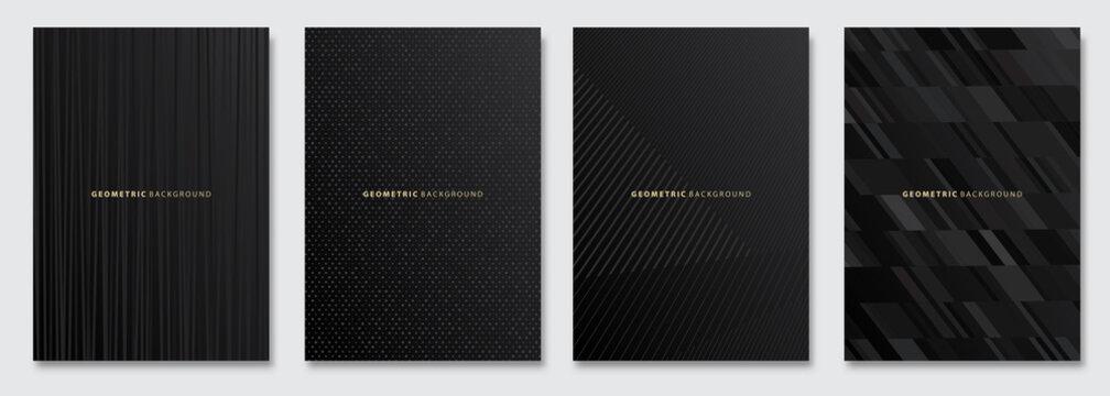 Vector abstract background, dark subtle creative wave patterns, geometric gradient texture. Deluxe Minimal pattern design. Black Modern Cover templates set.