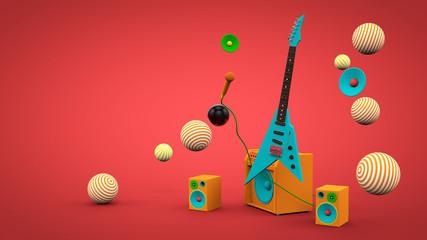 Electric guitar background. 3d render. Fotobehang