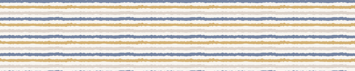 French blue damask shabby chic stripe  linen vector texture border background. Stripedhand drawn banner seamless pattern. Hand drawn wonky interior home decor ribbon. Classic rustic farmhouse style .