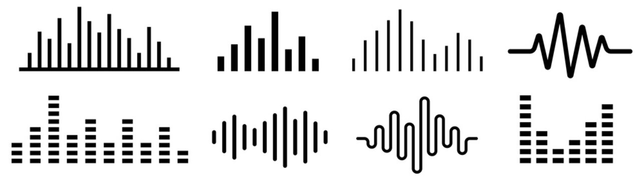 Sound wave. Audio wave set. Vector