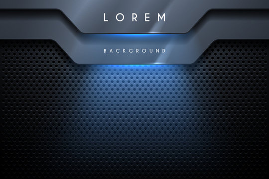 Abstract metal background with blue light