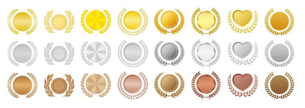 月桂冠付きメダル フレーム 金銀銅