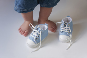 Blue first baby shoes Wall mural