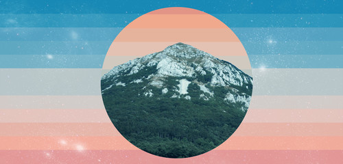 Beautiful abstract surreal geometric landscape mountain collage concept, contemporary colors and...