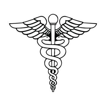 Caduceus - Medical Snake Outline Symbol Sign Logo Vector Eps isolated on white