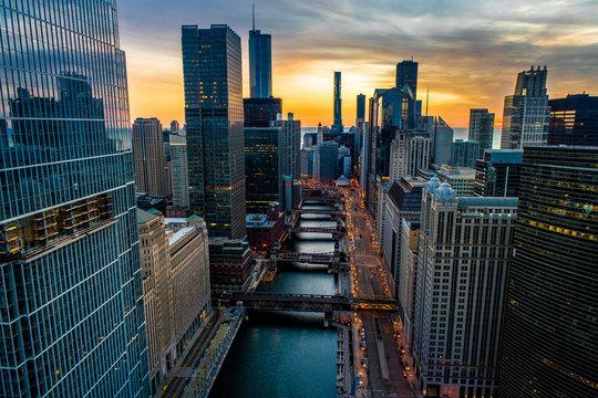 Chicago Skyline & River Sunrise Aerial Photo Stunning Sky