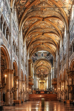 Interior of the Cathedral in Parma, Italy