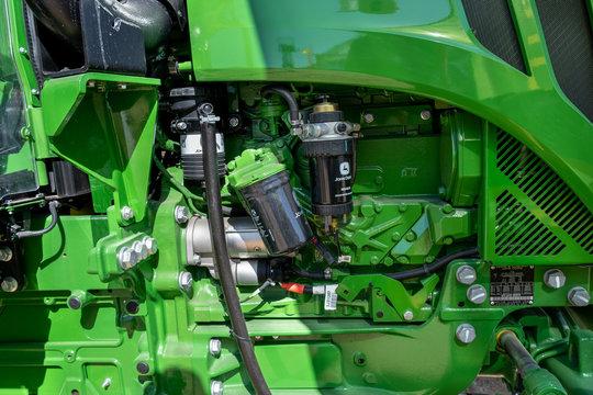 Fragment of John Deere tractor engine