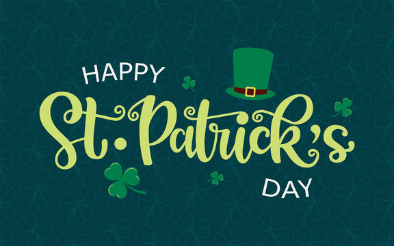 Vector design of St. Patrick's Day logotype. Hand sketched lettering typography with leprechaun hat and clovers on textured background. Illustration for beer or ale festival poster, flyer, badge, icon