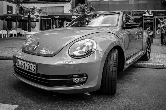 BERLIN - JUNE 05, 2016: Compact car Beetle Cabriolet, 2016. Black and white. Classic Days Berlin 2016.