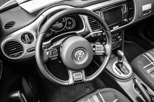 BERLIN - JUNE 05, 2016: Interior of compact car Beetle Cabriolet, 2016. Black and white. Classic Days Berlin 2016.