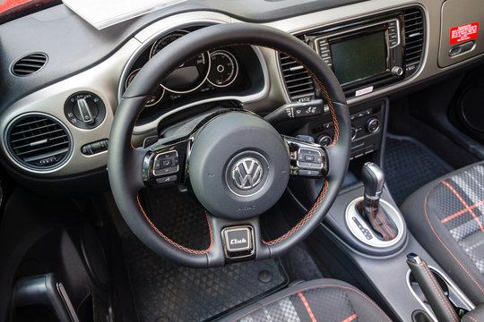 BERLIN - JUNE 05, 2016: Interior of compact car Beetle Cabriolet, 2016. Classic Days Berlin 2016.
