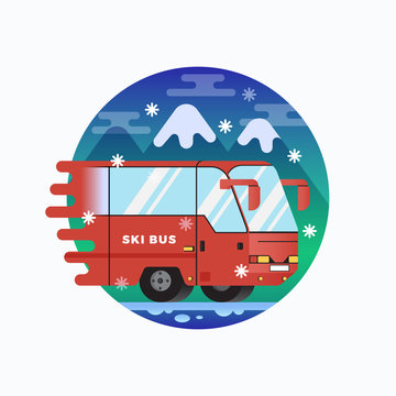 Ski or Snowboard Resort Shuttle Bus. Vector Flat Style Illustration with Mountains Background. Alpine Outdoor Action Sports Icon or Banner.