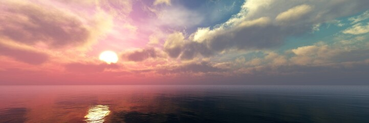 Spoed Fotobehang Grijs Beautiful panorama of the sea landscape, panorama of sea sunset, sea sunrise, light in the sky with clouds above the water,Beautiful panorama of the sea landscape, panorama of sea sunset, sea sunrise,