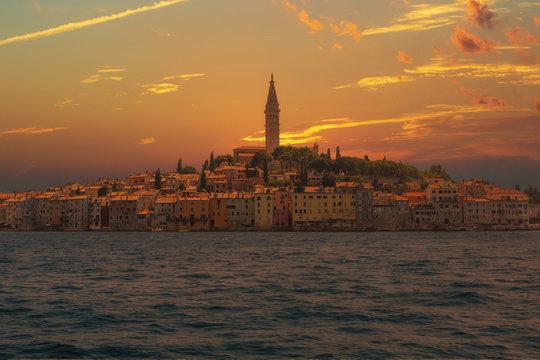 Colorful sunrise over Rovinj old town, Istria, Croatia