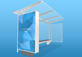 Isolated White Bus Stop Lightbox Mockup with Transparent Background
