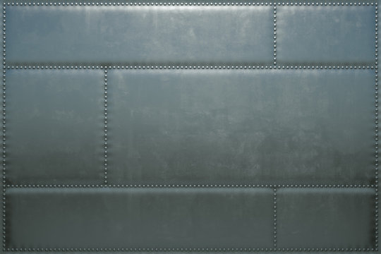 3d image of the metal skin of an airplane with rivets. Steel background from the plates.