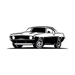 Retro muscle car emblem, logo, banner. Muscle car icon. Vector illustration.