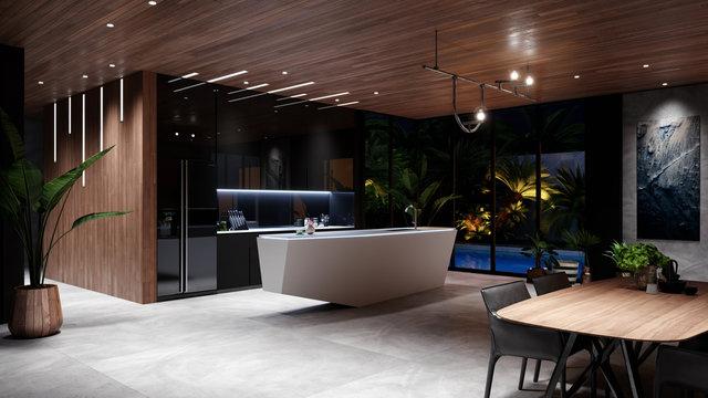 Modern Luxury Kitchen Interior,  Evening 3D Rendering