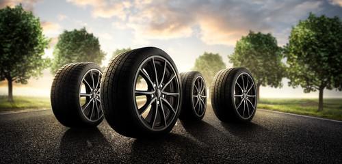Sommer Reifen auf der Landstraße Fototapete