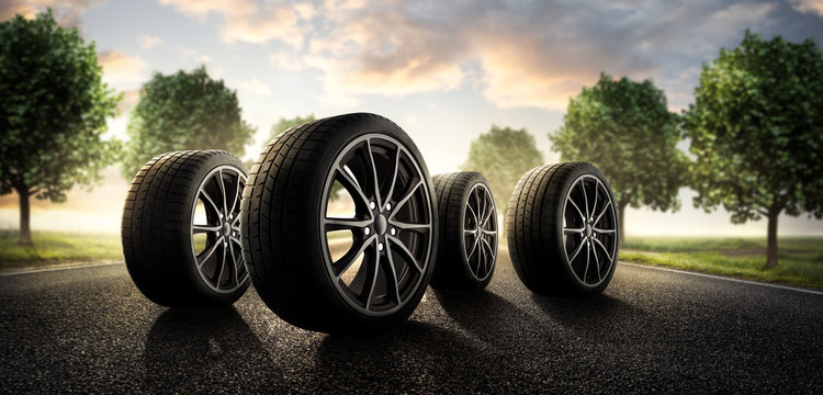 Sommer Reifen auf der Landstraße