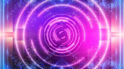 Photo sur Plexiglas Spirale Dark futuristic neon background. Light center, neon circle. Rays and lines, geometric shapes.