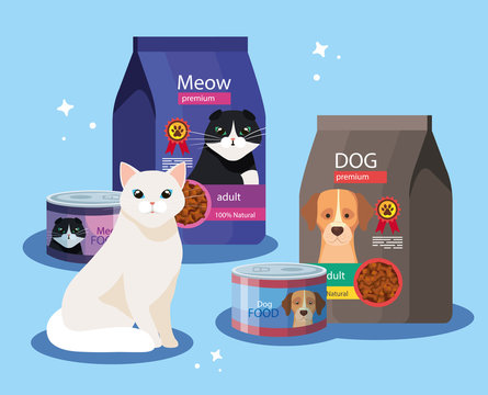 cat with bags of food for cat and dog vector illustration design