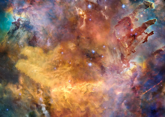Foto auf AluDibond Nasa Star forming region somewhere in deep space near pillars of creation in bright colors.. Science fiction. Elements of the image were furnished by NASA