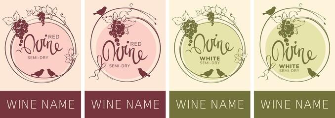 Wine labels with birds and grapes / Set vector illustration, floral design element