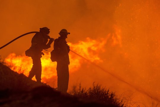 Firefighters fighting huge bush and forestfires