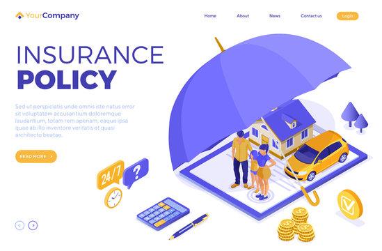 Family Car Home Insurance Isometric