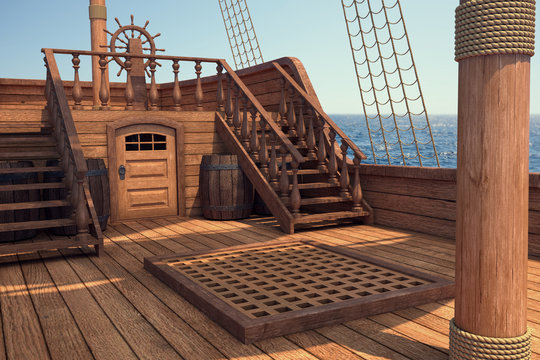 Outside of pirate old ship. Daylight view of ship background. 3d illustration of deck of a pirate ship. Mixed media.